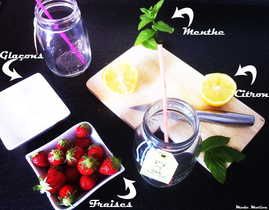 boisson d tox fraise citron menthe mode motion. Black Bedroom Furniture Sets. Home Design Ideas